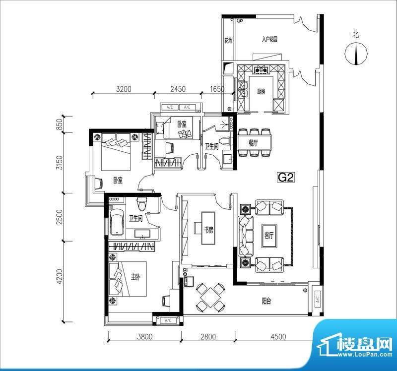君华香柏广场G2 4室面积:154.16平米