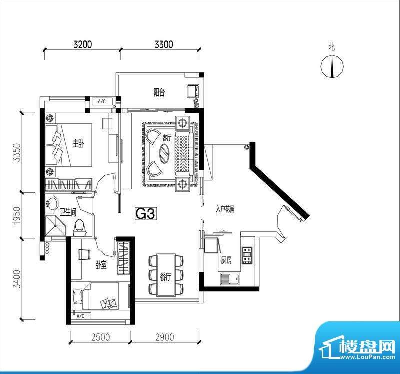 君华香柏广场G3 2室面积:78.72平米