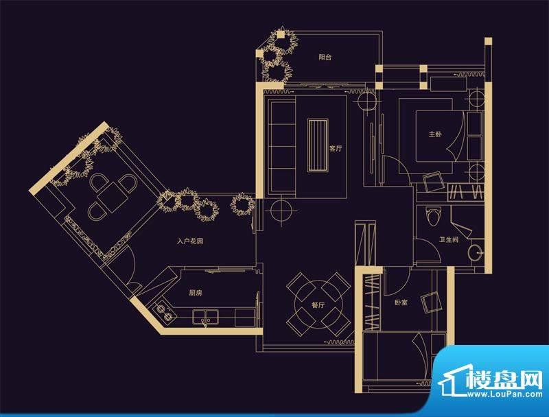君华香柏广场E7 2室面积:77.99平米
