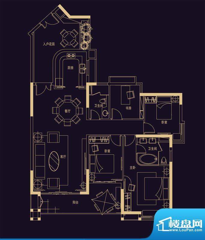 君华香柏广场E1 4室面积:154.47平米