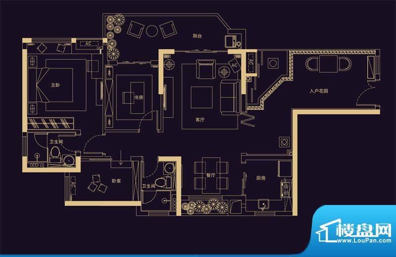 君华香柏广场E3 3室面积:99.35平米