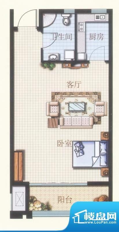 凤凰山庄A1户型图 1面积:60.00平米