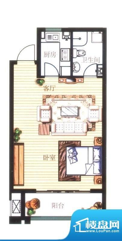 凤凰山庄A2户型图 1面积:53.00平米