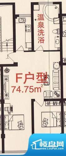 三缘温泉花园F户型图面积:74.75平米