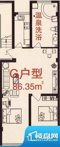 三缘温泉花园G户型图面积:86.35平米