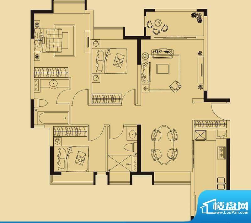 兰亭荟A1栋01户型 3面积:119.00平米