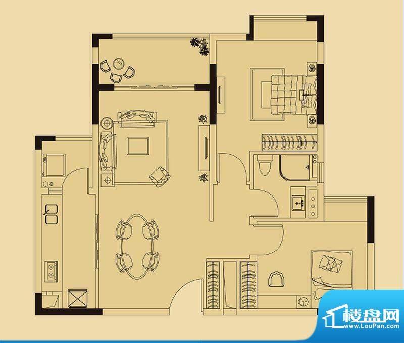 兰亭荟A1栋02户型 2面积:82.00平米