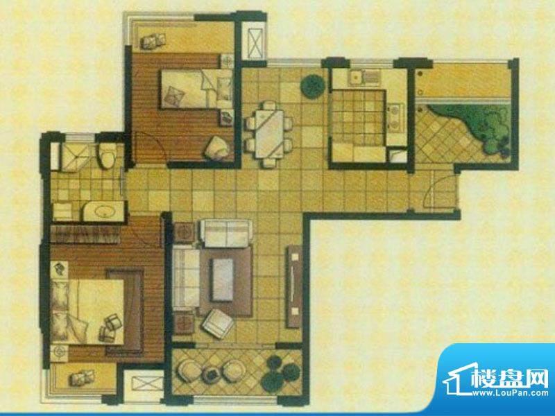 御景龙庭A1户型 2室面积:92.00平米