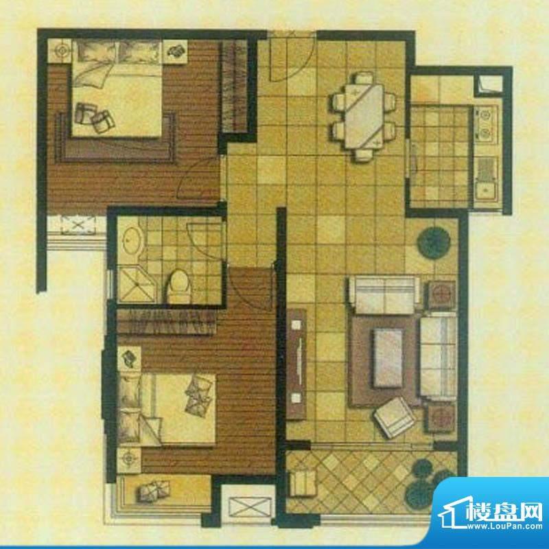 御景龙庭A2户型 2室面积:90.00平米