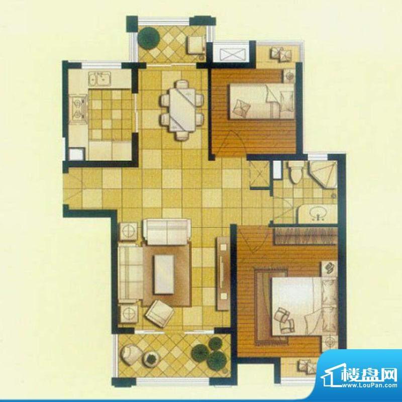 御景龙庭C1户型 2室面积:91.00平米