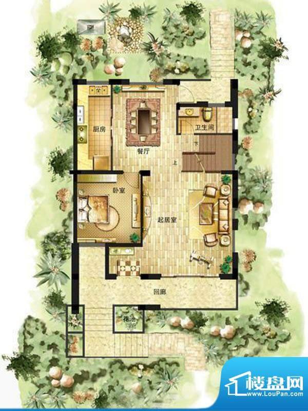 御景龙庭E2户型一层面积:210.00平米