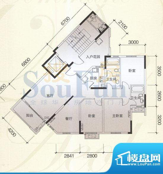 风神公社3C户型 3室面积:135.00平米