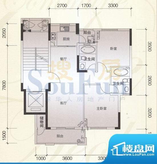 风神公社2A户型 2室面积:92.00平米