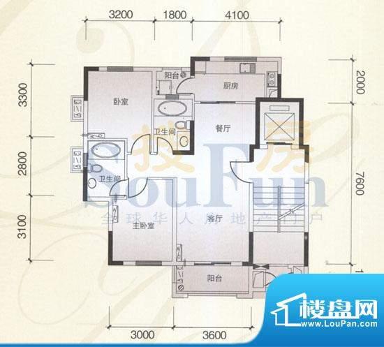 风神公社2B户型 2室面积:90.00平米