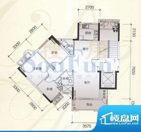 风神公社3D户型 3室面积:92.00平米