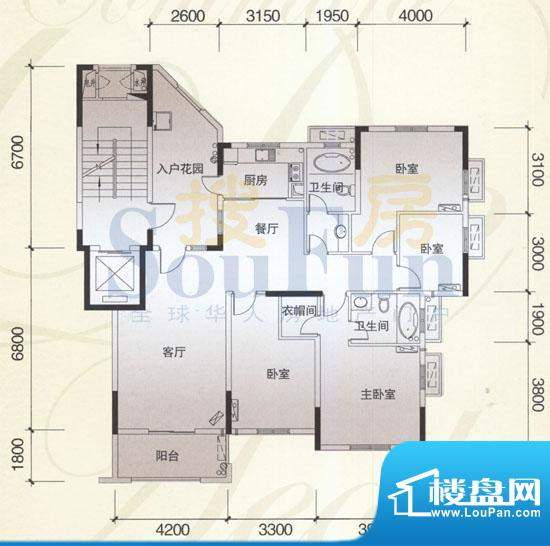 风神公社4A户型 4室面积:147.00平米