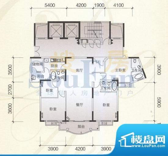 风神公社4B户型 4室面积:173.00平米