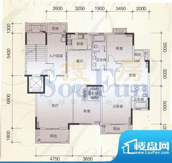 风神公社4C户型 4室面积:176.00平米