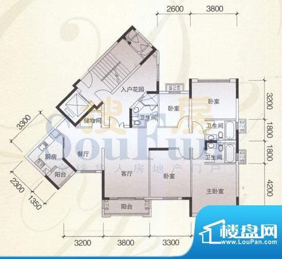风神公社4D户型 4室面积:149.00平米
