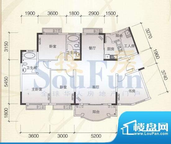 风神公社4G户型 4室面积:153.00平米