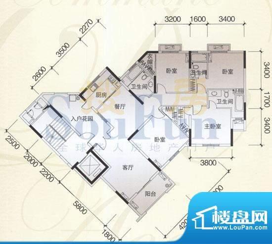 风神公社4H户型 4室面积:162.00平米