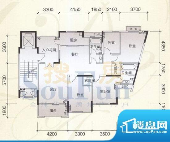 风神公社4I户型 4室面积:152.00平米