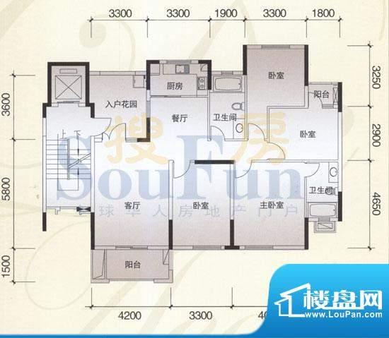 风神公社4J户型 4室面积:146.00平米