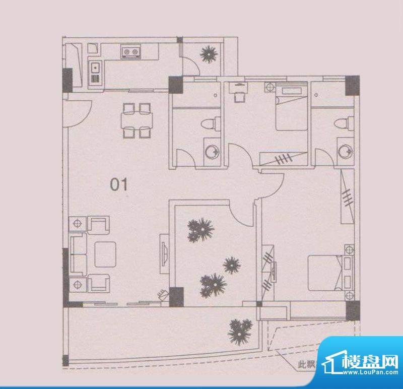 云峰花园四期4栋01户面积:103.00平米