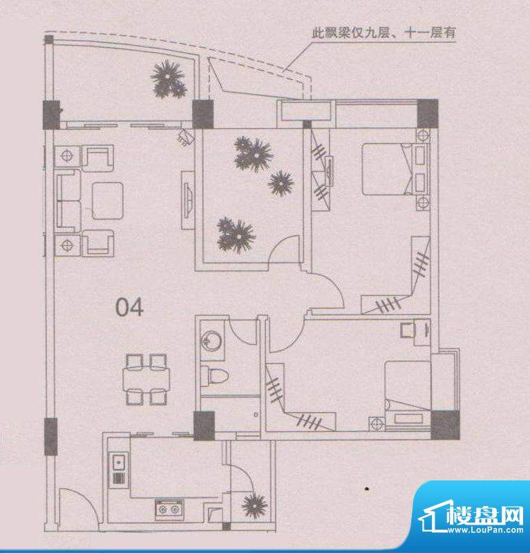 云峰花园四期4栋04户面积:94.00平米