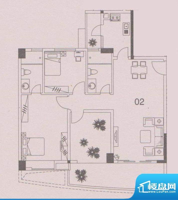 云峰花园四期4栋02户面积:103.00平米