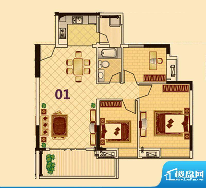 尚品雅居3栋1座01户面积:91.00平米