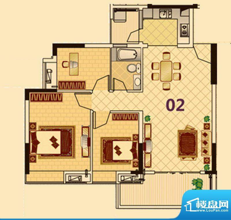 尚品雅居3栋1座02户面积:91.00平米