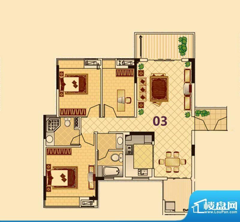 尚品雅居3栋1座03户面积:110.00平米