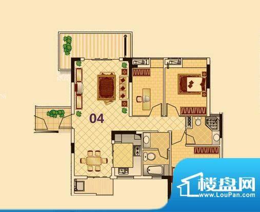尚品雅居3栋1座04户面积:109.00平米