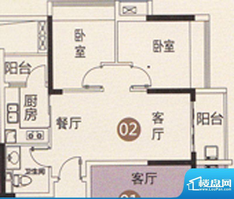 御江南7座公寓02单位面积:65.00平米