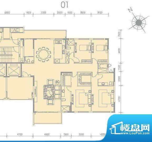 尚轩1033栋01单元 4面积:259.00平米