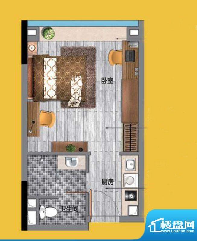 万科东荟城公寓A1户面积:38.00平米