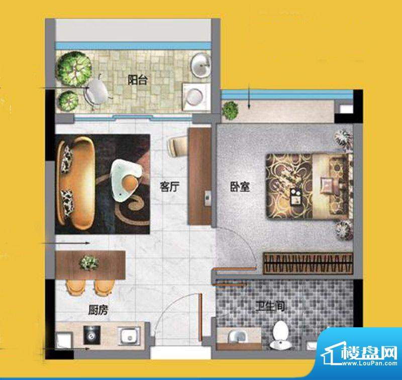 万科东荟城公寓B2户面积:50.00平米