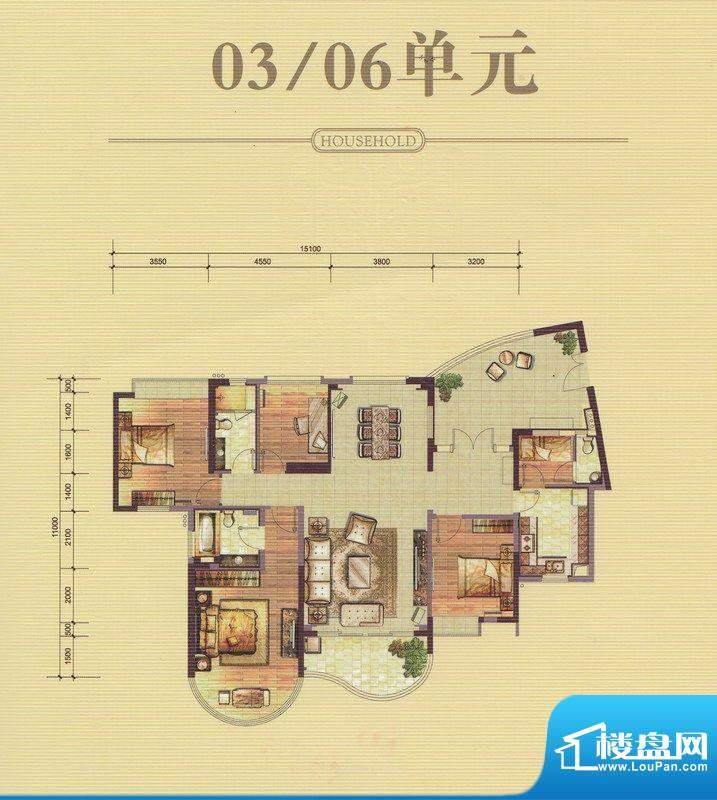 合生·紫龍府A、B、面积:186.00平米