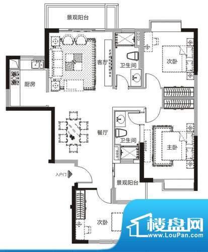 天马河公馆K户型-05面积:127.21平米