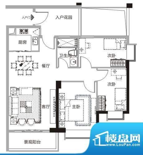 天马河公馆M户型-01面积:96.17平米
