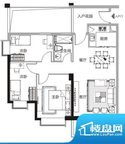 天马河公馆M户型-02面积:95.61平米