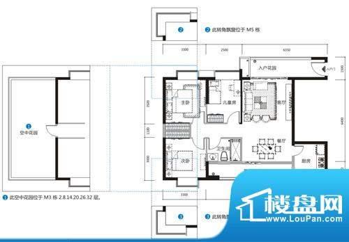 天马河公馆M户型-03面积:99.45平米