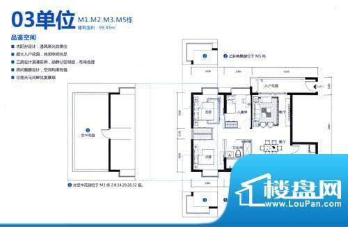 天马河公馆03单位 3面积:99.45平米