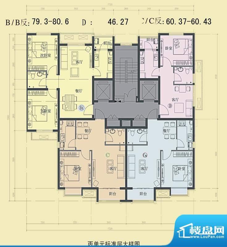东海仪园反面丙单元面积:80.60平米