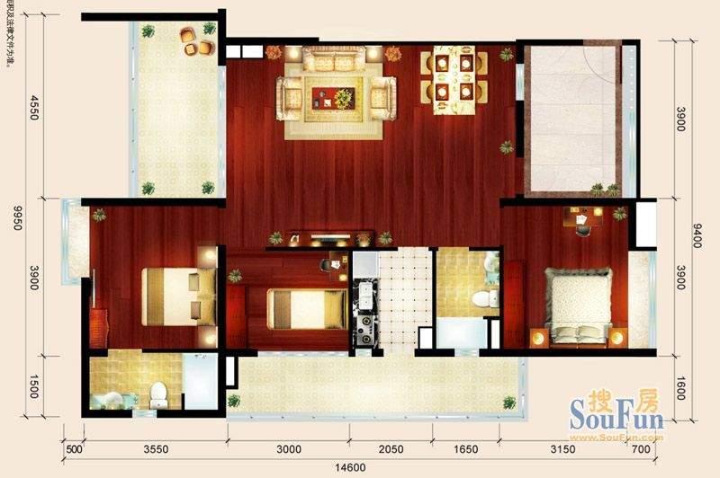 骏御华庭10户型 3室面积:122.00平米