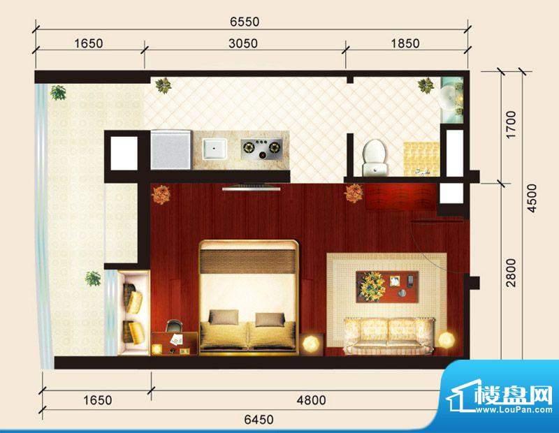 骏御华庭01户型 1室面积:31.00平米
