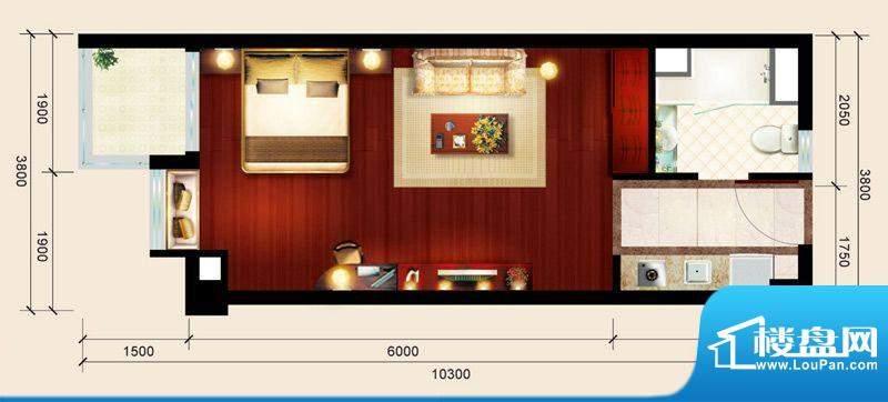 骏御华庭03户型 1室面积:39.00平米
