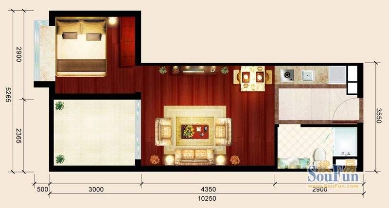 骏御华庭04户型 1室面积:45.00平米