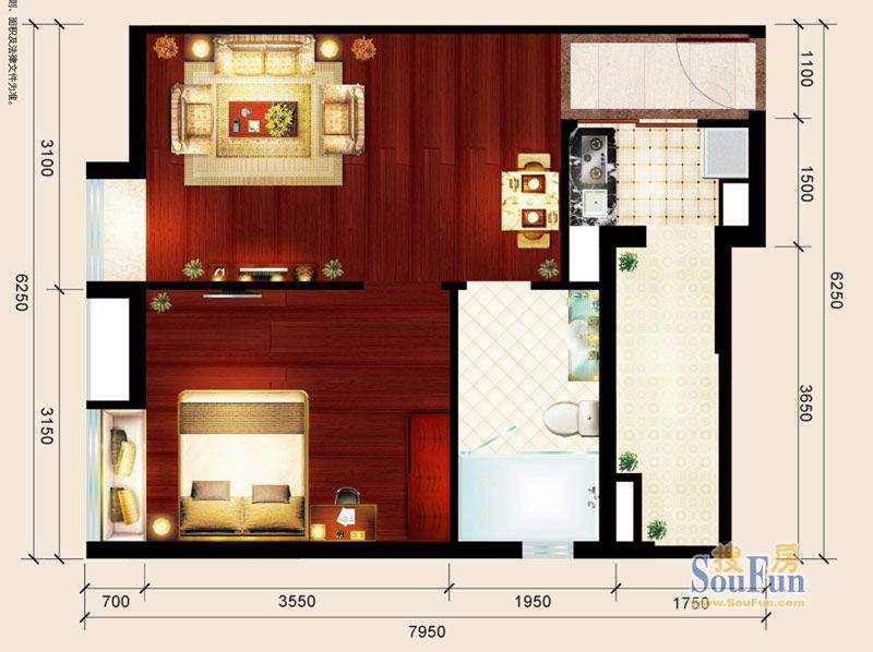 骏御华庭06户型 1室面积:51.00平米